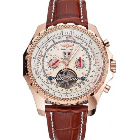 Breitling  White Dial Rose Gold Case Brown Leather Strap